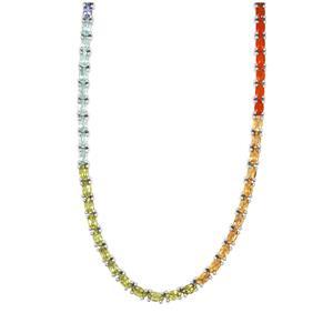 20.52ct Rainbow Gemstones Sterling Silver VIBGYOR Necklace