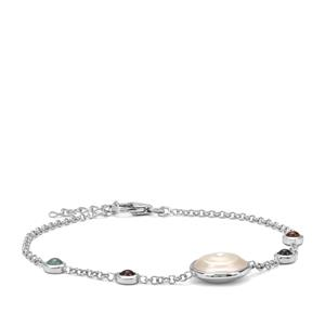 Kaori Cultured Pearl Bracelet with Rainbow Tourmaline in Sterling Silver (11.50mm)