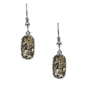 Baltic Green Amber Earrings in Sterling Silver (12.50 x 6mm)