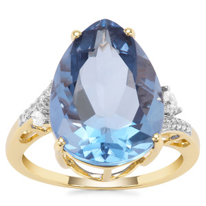 Colour Change Fluorite Ring with White Zircon in 9K Gold 10.26cts