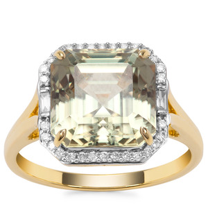 Asscher Cut Csarite® Ring with Diamond in 18K Gold 6.09cts