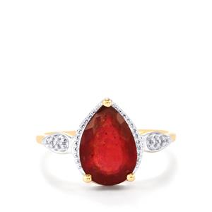 Malagasy Ruby Ring with White Zircon in 10k Gold 2.92cts (F)