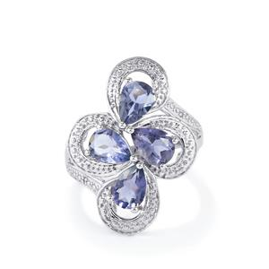 Bengal Iolite & Diamond Sterling Silver Ring ATGW 2.00cts