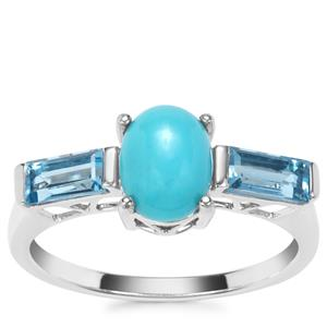 Sleeping Beauty Turquoise Ring with Swiss Blue Topaz in Sterling Silver 1.93cts