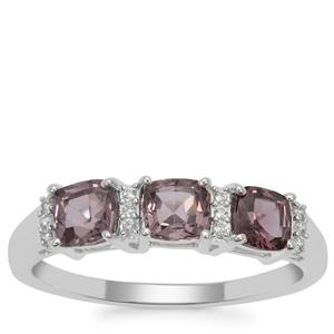 Burmese Spinel Ring with White Zircon in Sterling Silver 1.38cts