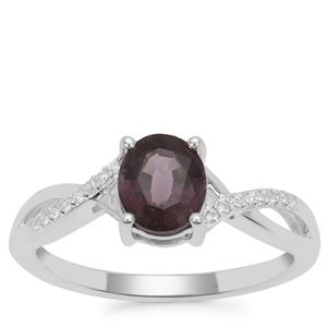 Burmese Spinel Ring with White Zircon in Sterling Silver 1.29cts
