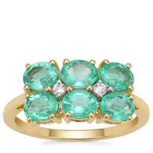 Malysheva Emerald Ring with White Zircon in 9K Gold 2.10cts