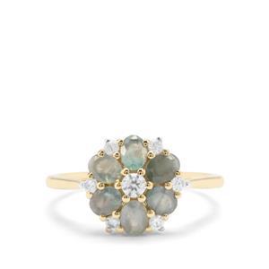 Alexandrite & White Zircon 9K Gold Ring ATGW 1.51cts
