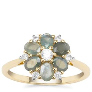 Orissa Alexandrite Ring with White Zircon in 9K Gold 1.51cts