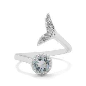 0.70ct Pedra Azul Aquamarine Sterling Silver Ring