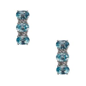 Ratanakiri Blue Zircon & White Topaz Sterling Silver Earrings ATGW 4.68cts