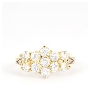 Ceylon White Sapphire Ring with White Topaz in Gold Plated Sterling Silver 2.37cts