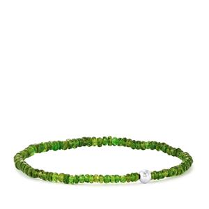 Chrome Diopside Stretchable Graduated Bead Bracelet with Silver Ball 23.50cts