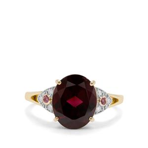 Tocantin, Rajasthan Garnet & Diamond 9K Gold Ring ATGW 4.39cts