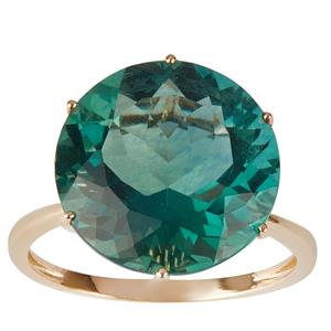 Tucson Green Fluorite Ring in 10K Gold 11.88cts