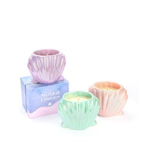 Mythical Collection  - Ice Cream Scented  Shell Shaped Candle with a Natural Freshwater Pearl