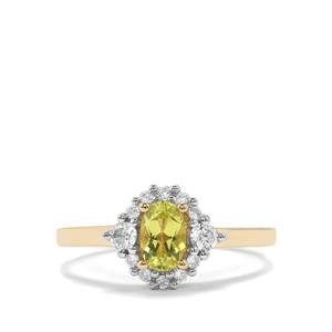 Brazilian Chrysoberyl Ring with White Zircon in 10k Gold 0.87cts