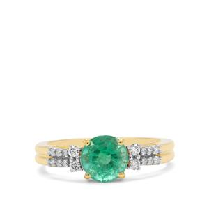 Ethiopian Emerald Ring with Diamond in 18K Gold 1.69cts