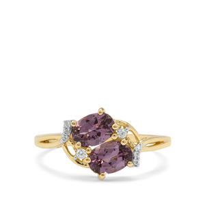 Mahenge Purple Spinel & White Zircon 9K Gold Ring ATGW 1.35cts