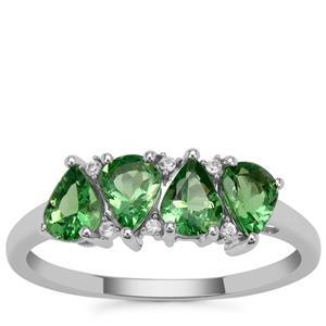 Tsavorite Garnet Ring with White Zircon in 9K White Gold 1.35cts