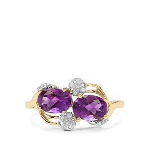 Moroccan Amethyst & Diamond 10K Gold Ring ATGW 1.47cts