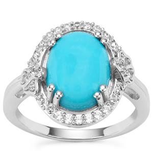Sleeping Beauty Turquoise Ring with White Zircon in Sterling Silver 3.06cts