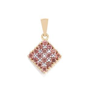 Padparadscha Sapphire & Diamond 10K Gold Pendant ATGW 1.19cts