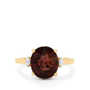 Bekily Color Change Garnet Ring with Diamond in 18k Gold 5.92cts