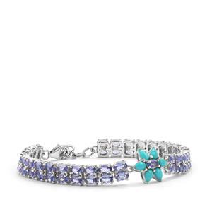 Sleeping Beauty Turquoise & Tanzanite Sterling Silver Bracelet ATGW 13.21cts
