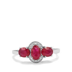 Montepuez Ruby & Diamond 9K White Gold Ring ATGW 1.42cts