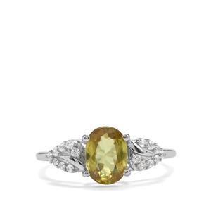 Ambilobe Sphene & White Zircon 10K White Gold Ring ATGW 1.63cts