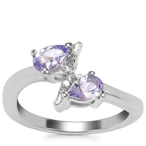 Tanzanite Ring with Diamond in Sterling Silver 0.68ct
