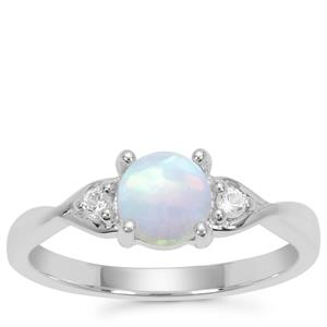 Kelayi Ethiopian Opal Ring with White Zircon in Sterling Silver 0.64ct