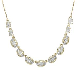 Ceylon White Sapphire Necklace 9K Gold 3.65cts