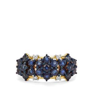 Natural Nigerian Blue Sapphire & White Zircon 9K Gold Ring ATGW 1.96cts