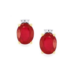 Malagasy Ruby Earrings with Ceylon White Sapphire in 10K Gold 7.11cts (F)