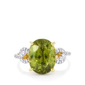 Ambilobe Sphene Ring with Diamond in 18K Gold 8.21cts