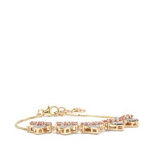 Padparadscha Sapphire & Diamond 10K Gold Tomas Rae Bracelet ATGW 1.60cts