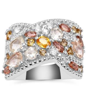 2.83cts Sunrise Sterling Silver Shades Ring