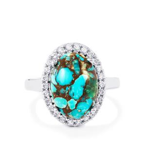 Egyptian Turquoise & White Topaz Sterling Silver Ring ATGW 5.76cts