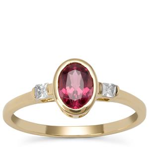 Comeria Garnet Ring with White Zircon in 9k Gold 1.10cts
