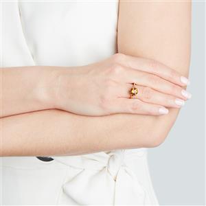 Santa Ana Citrine Polaris Ring with Green Diamond in 10K Gold 2.28cts