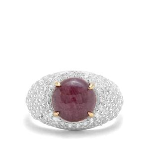 Bharat Ruby & White Zircon Sterling Silver Ring With 18k Gold Prongs ATGW 5.70cts