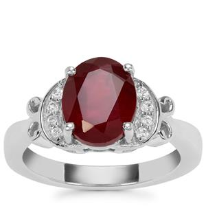 Malagasy Ruby Ring with White Zircon in Sterling Silver 4.29cts (F)