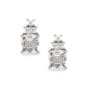 5ct White Topaz Sterling Silver Asscher Cut Earrings