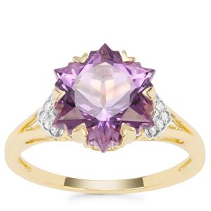 Wobito Snowflake Cut Ametista Amethyst Ring with Diamond in 9K Gold 4.09cts