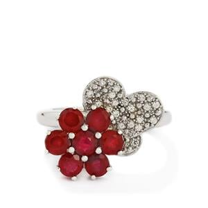 Madagascan Ruby & White Zircon Sterling Silver Ring ATGW 3.50cts (F)