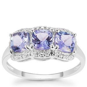 AAA Tanzanite Ring with White Zircon in 9K White Gold 1.95cts
