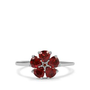 Rajasthan Garnet Ring with Red Diamond in Sterling Silver 1.65cts