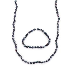 Kaori Cultured Pearl Set of Necklace and Bracelet (7x6mm)